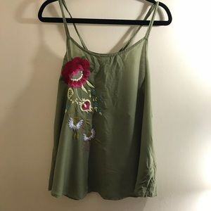 Anthropologie Green  Tank Top